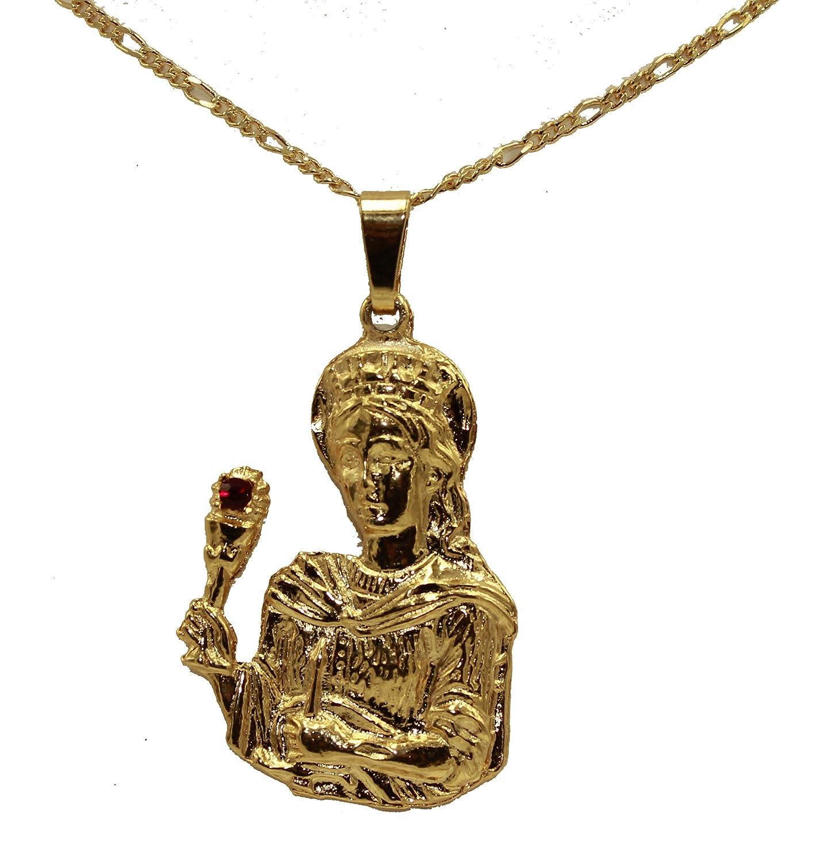 Diamantados of Florida Santa Barbara Medal 18k Gold Plated Medalla Enchapada Pendant with 22 Inch Chain