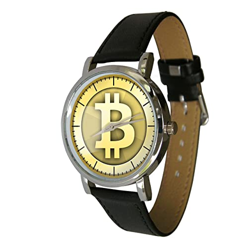 Bitcoin design watch with a genuine leather strap
