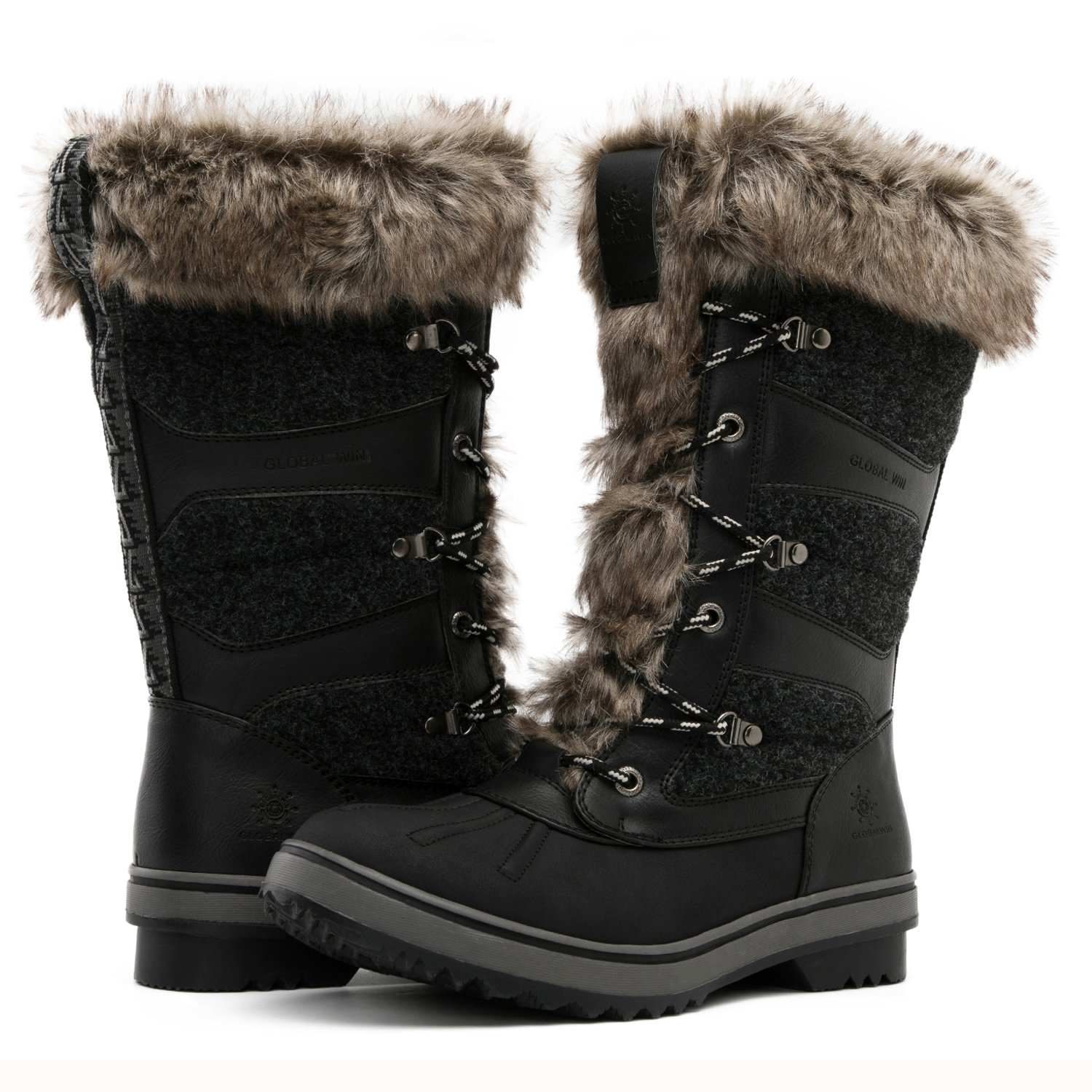 Global Win GLOBALWIN Women's 1730 Winter Snow Boots B074XCN81C 7 B(M) US|1730black