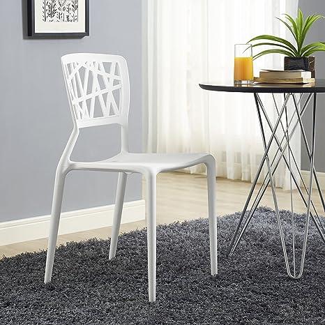 Amazon.com: modway Astro Side silla de comedor, color blanco ...