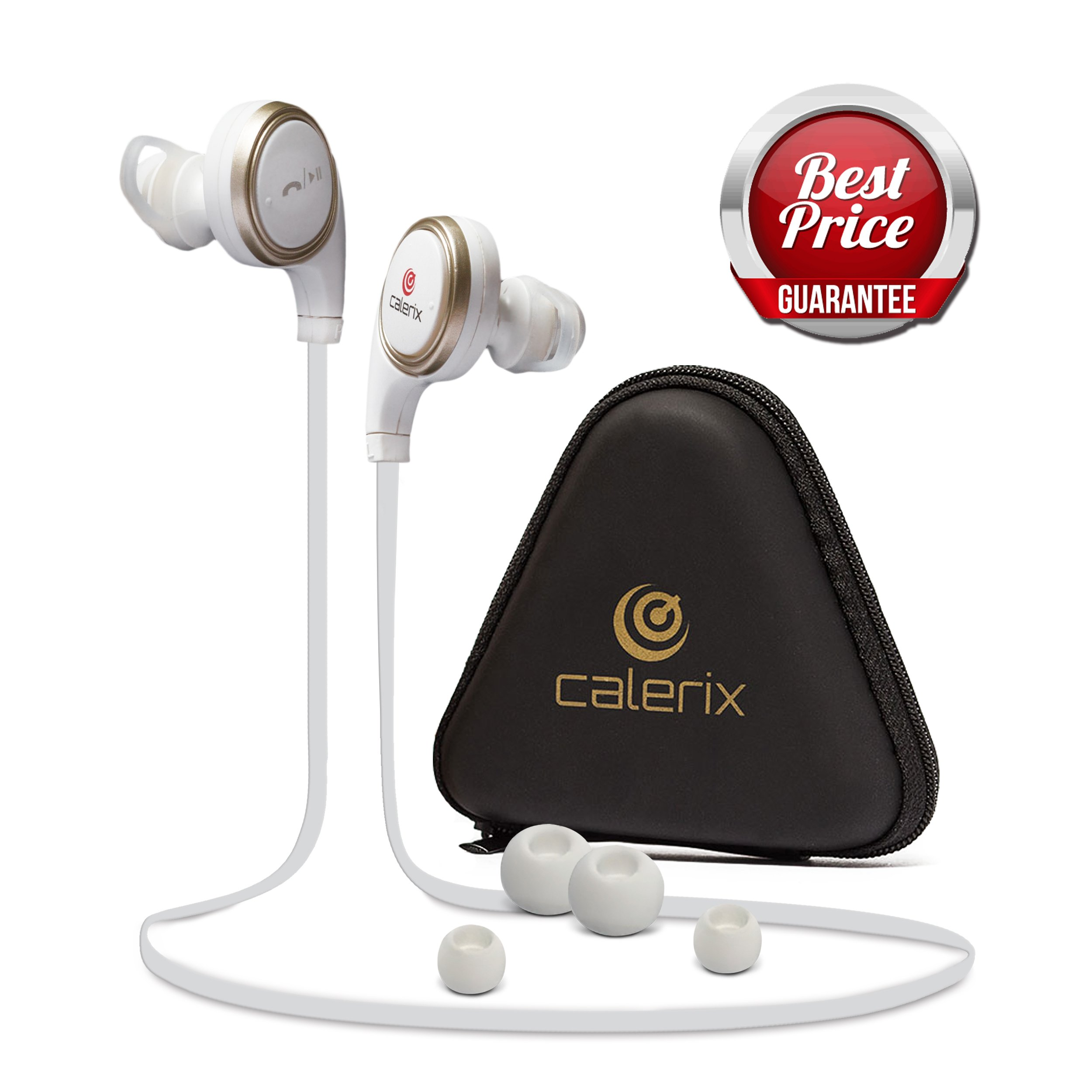 Bluetooth Headphones 4.1 Wireless Calerix, with Sweat Proof, Noise Cancelling Technology – Lightweight Sport In-Ear Earbuds with Built-In Microphone – Connect to iOS, Android (White/Golden)