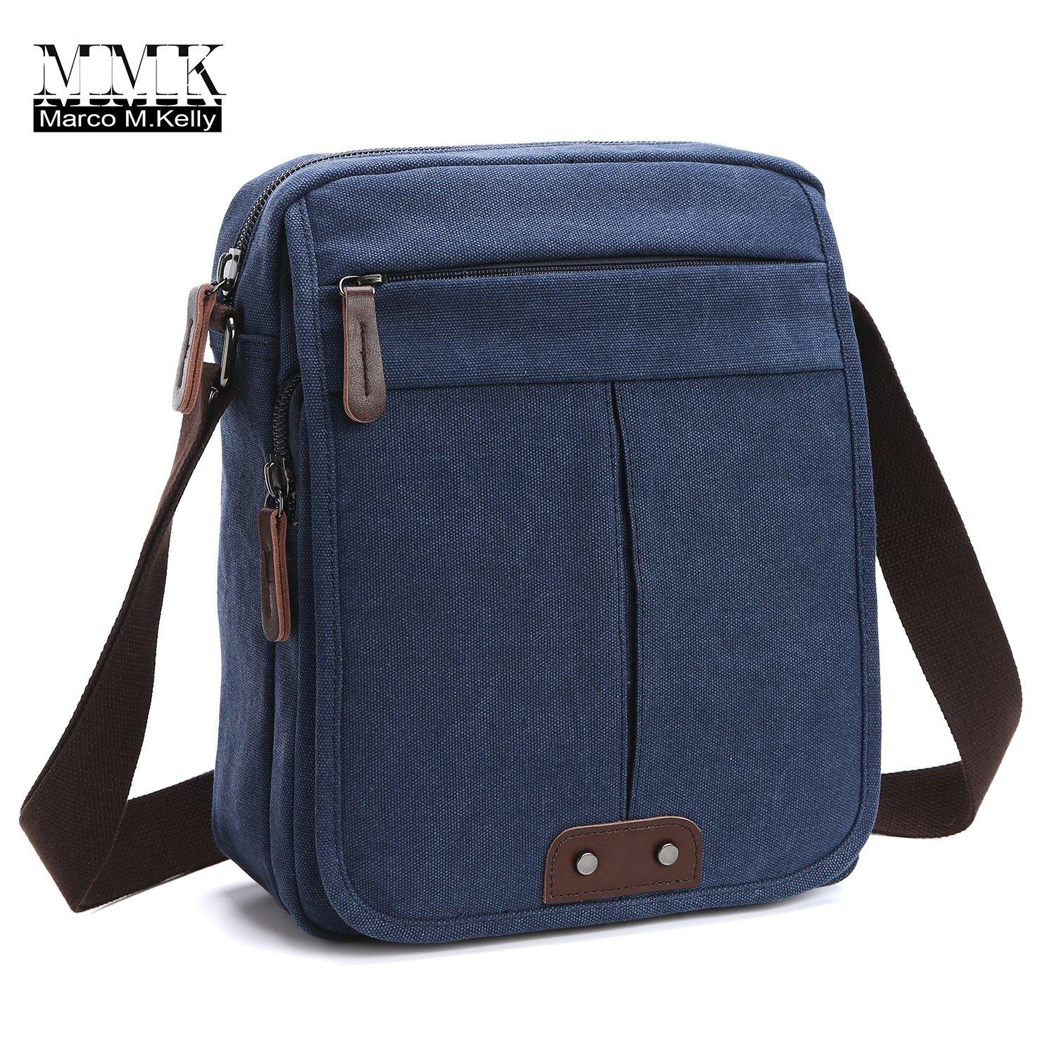 Canvas Leather Messenger Purse Shoulder Bag~Lightweight Crossbody Bag~Book bag ~Functional Multi Vintage Lightweight Casual Shoulder Bag Travel Organizer Bag Multi-pocket Working Bag (MG-8842 Navy)