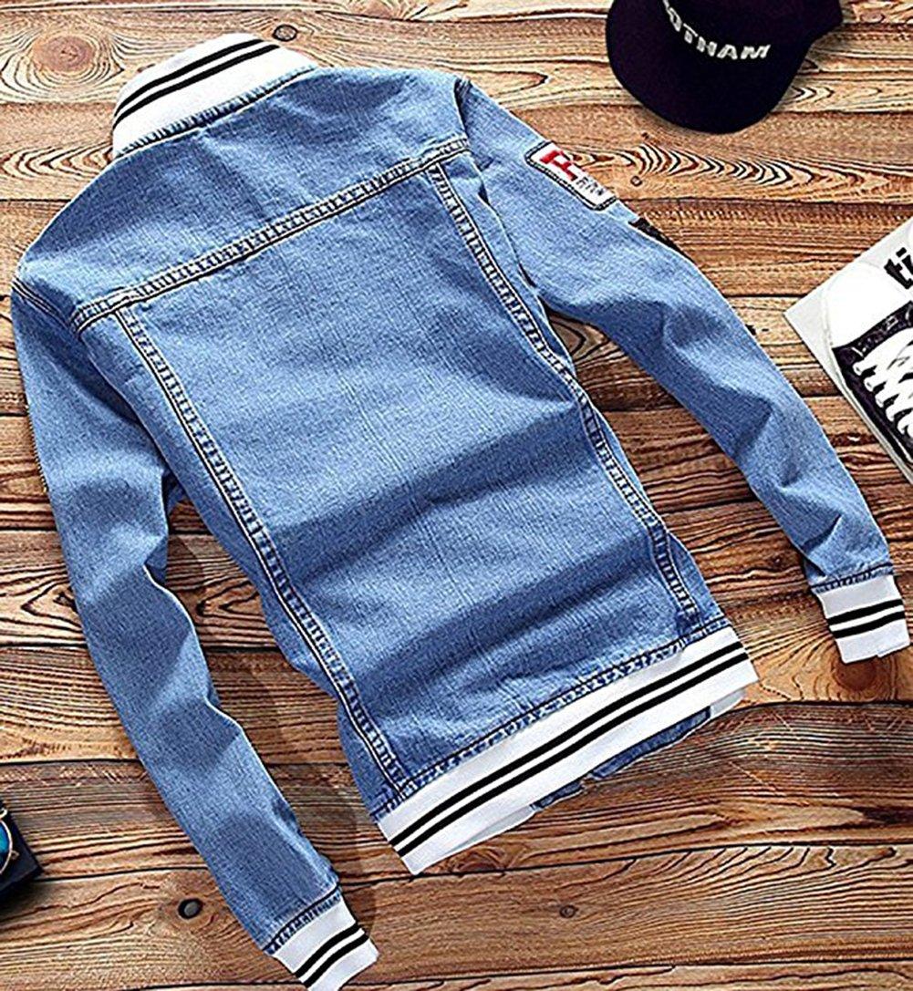 Men's Denim Jacket With Patches, Light Blue 5