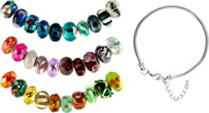 Pandora Style Thirty (30) Piece Charm Bead Set with Murano Style, Lampwork Style and Faceted Glass Style Beads Plus Starter Bracelet - Fits Pandora, Troll, Biagi and Charmilia and Starter Bracelet - Exact Assortment as Shown (FB100)