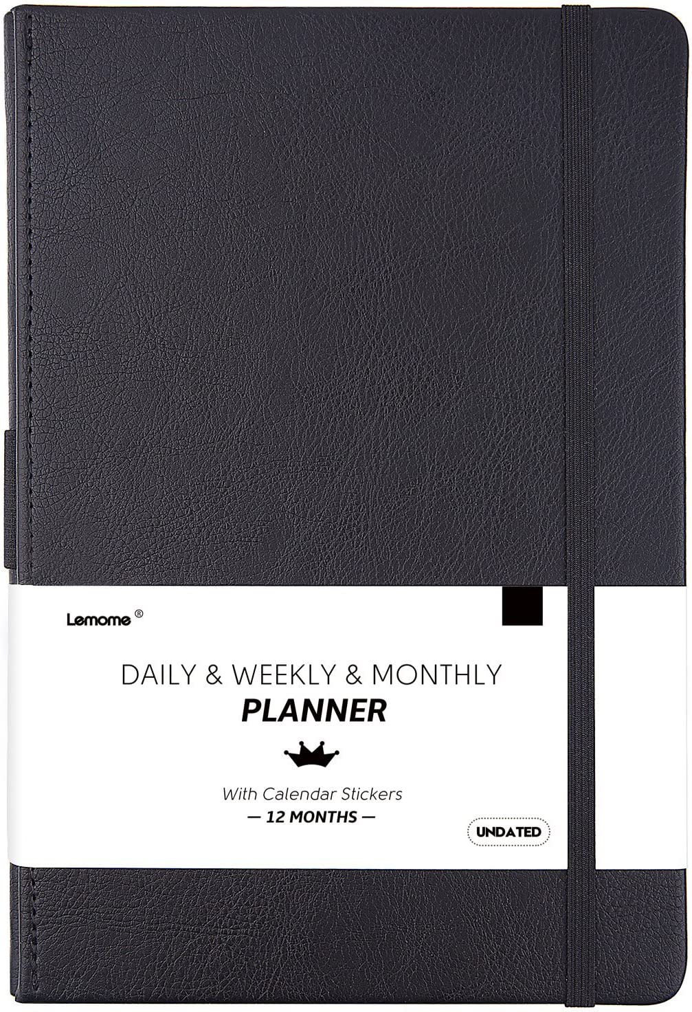 "Undated Daily/Monthly Planner + Monthly & Weekly to-DO List to Improve Productivity, 5.75"" x 8.25"", Premium Thick Paper, Pen Holder, Inner Pocket, 12 Months, Gift Box"