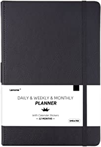 """Undated Daily/Monthly Planner + Monthly & Weekly to-DO List to Improve Productivity, 5.75"""" x 8.25"""", Premium Thick Paper, Pen Holder, Inner Pocket, 12 Months, Gift Box"""