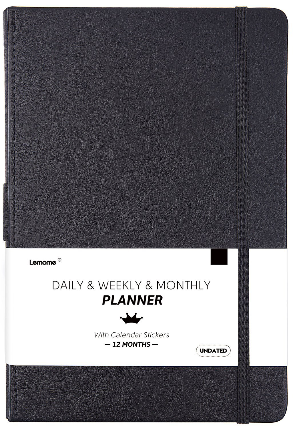 Daily/Monthly Planner + 2018-2019 Calendar Stickers and Monthly & Weekly TO-DO List to Improve Productivity, Premium Thick Paper, Pen Holder, 5.75'' x 8.25'', Inner Pocket, 12 Months Guarantee - Undated