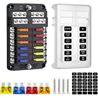 Deyooxi 12-vägs 12 V bladesäkringsblock, 12 kretsar ATC/ATO, vattentät säkringsboxhållare med LED-indikator…
