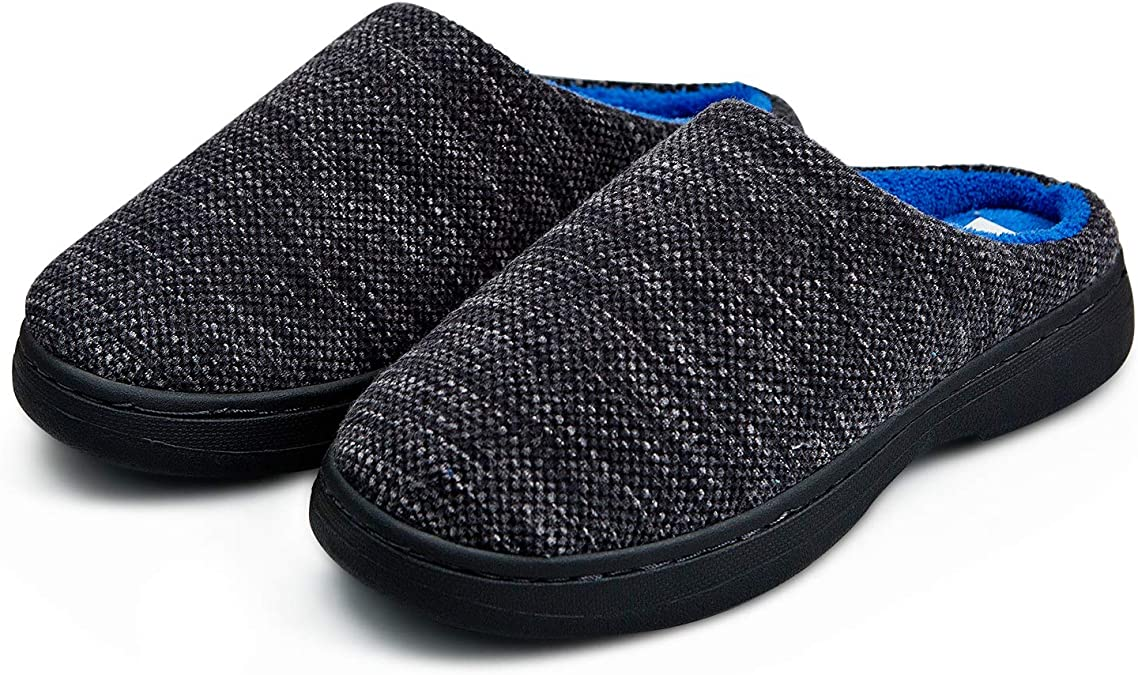 Slippers for Men Memory Foam Warm Cozy Slip On Home House Shoes Rubber Sole Non-Slip Indoor Outdoor Winter (11, Heathered Gray/Blue)