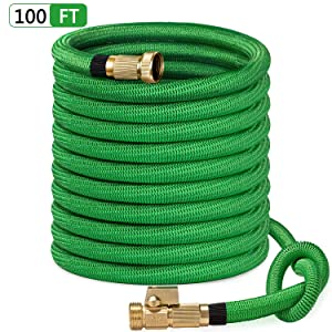 "SunGreen 100ft Garden Hose, All New 2019 Expandable Water Hose with 3/4"" Solid Brass Fittings, Extra Strength Fabric - Flexible Expanding Hose with Free Storage Sack"