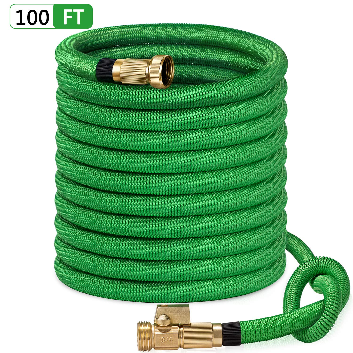 SunGreen 100ft Garden Hose, All New 2019 Expandable Water Hose with 3/4'' Solid Brass Fittings, Extra Strength Fabric - Flexible Expanding Hose with Free Storage Sack