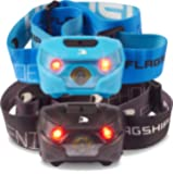Flagship-X 2-Pack Phoenix Rechargeable IPX4 Waterproof LED Camping Headlamp Flashlight For Running (Cyan & Black)