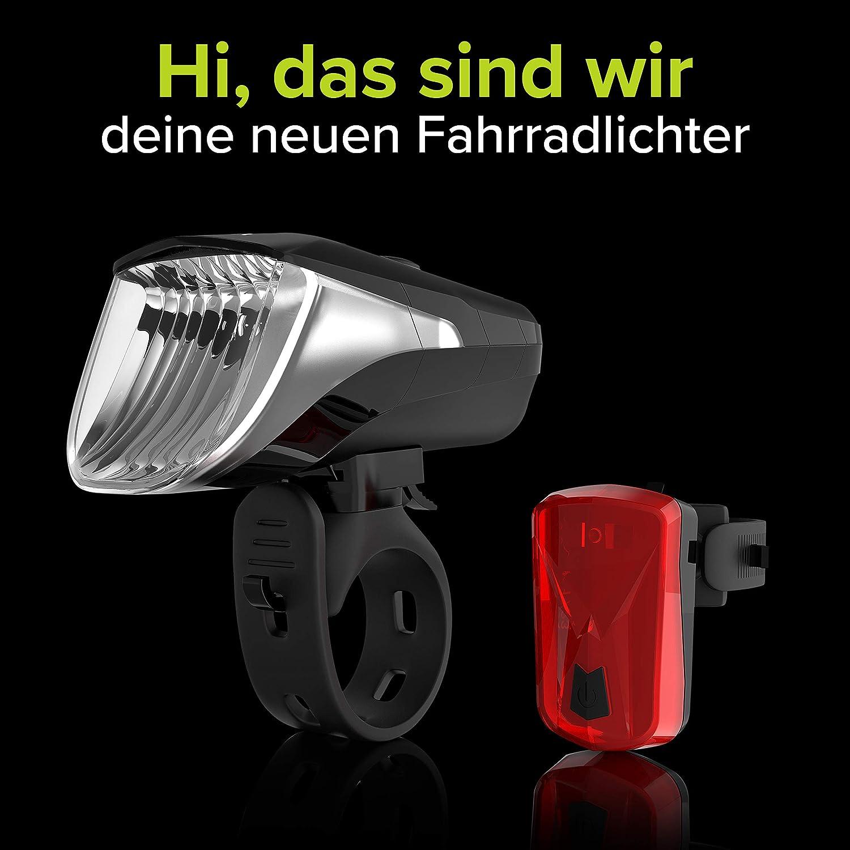 - LED-Fahrradlicht mit bis zu 8,5h Leuchtdauer /& 3 Helligkeitsstufen; USB-wiederaufladbar /& StVZO-zugelassen; inkl Anzeige f/ür Akku /& Lichtst/ärke; werkzeuglose Montage Velmia Fahrradbeleuchtung Set