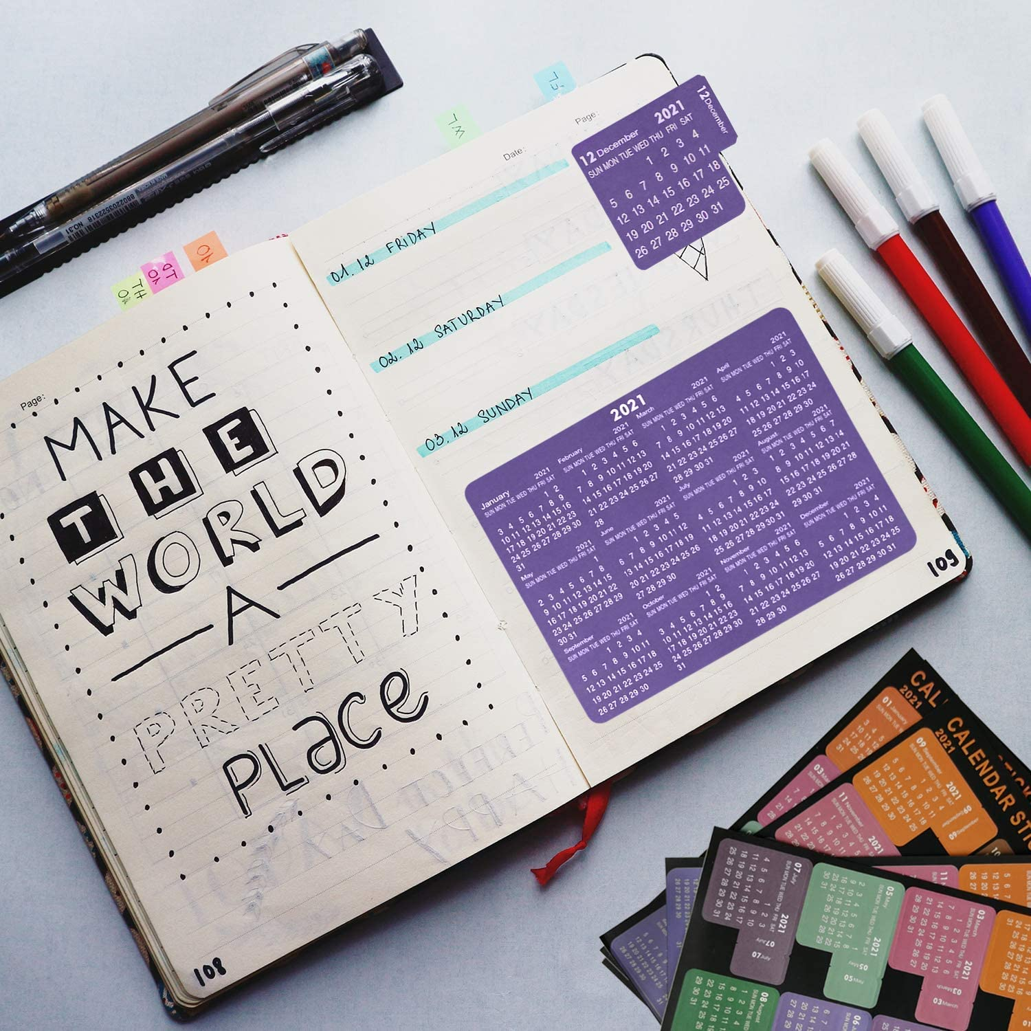 Kingovalley 2021 Calendar Planner Stickers 12 Monthly Planner Adhesive Tabs Divider Index Tabs for Bullet Journal Notebook Perfect for Home Office School Organizing /& Planning 12 Sheets, 72Tabs