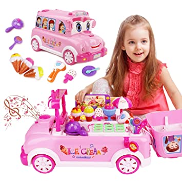 Amazon.com: Food Toy Ice Cream Truck Pretend Play with Sound and ...