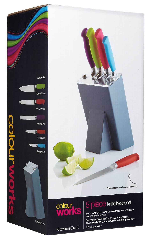 Uncategorized Kitchen Craft Knives kitchen craft colourworks 5 piece knife set with storage block multicolour amazon co uk home