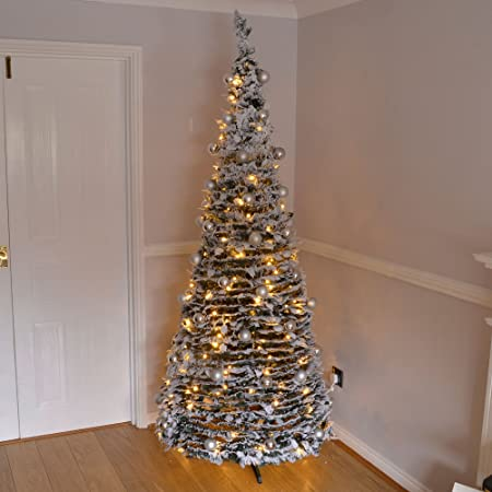 7ft Large Quick Pop Up Christmas Tree Pre Decorated with 200 Warm ...