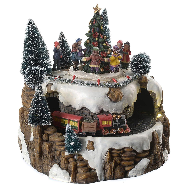 Holyart Villaggio di Natale Treno e Bambini in Movimento Illuminato con Musica 25x20