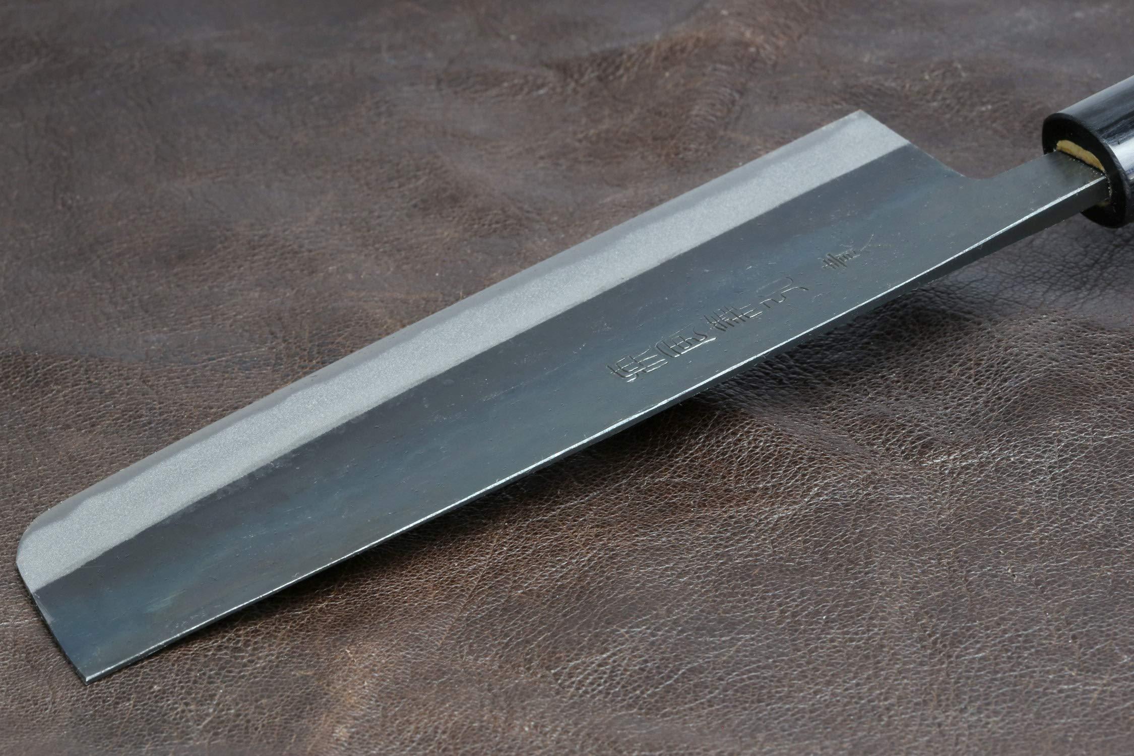 Yoshihiro Mizu Yaki Blue Steel Kurouchi Nakiri Japanese Vegetable Chef Knife (6.5'' (165mm) & No Saya) by Yoshihiro (Image #6)