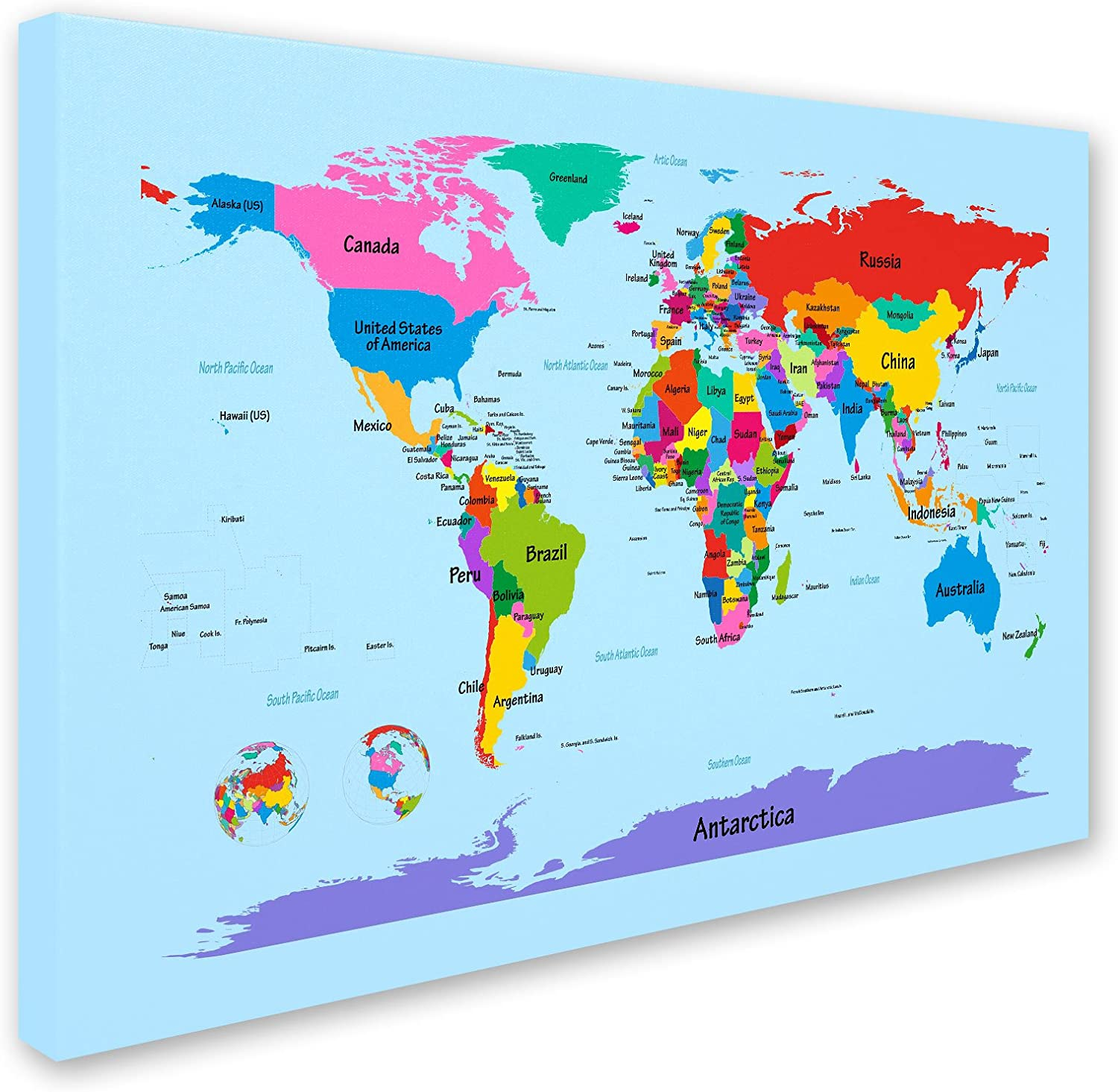Amazon Com Childrens World Map By Michael Tompsett Work 22 By 32 Inch Canvas Wall Art Prints Posters Prints