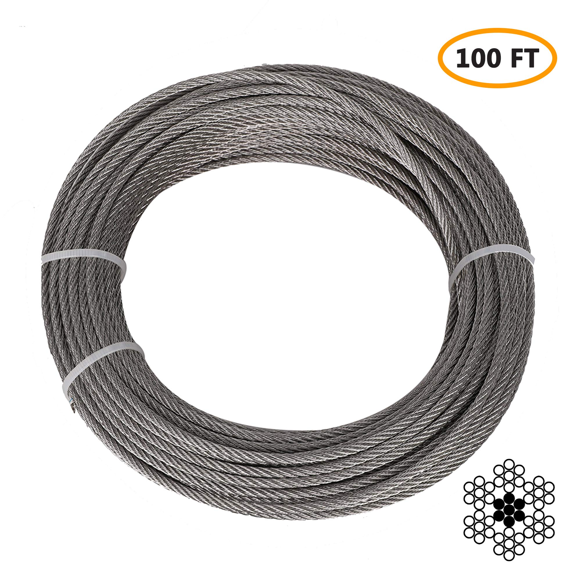 1/8'' Stainless Steel Aircraft Cable, Marine Grade T316 Stainless Steel Wire Rope, Steel Cable for Deck Railing Stair Railing & DIY Balustrade, 7x7 Braided, 100FT by SKD RV Tech