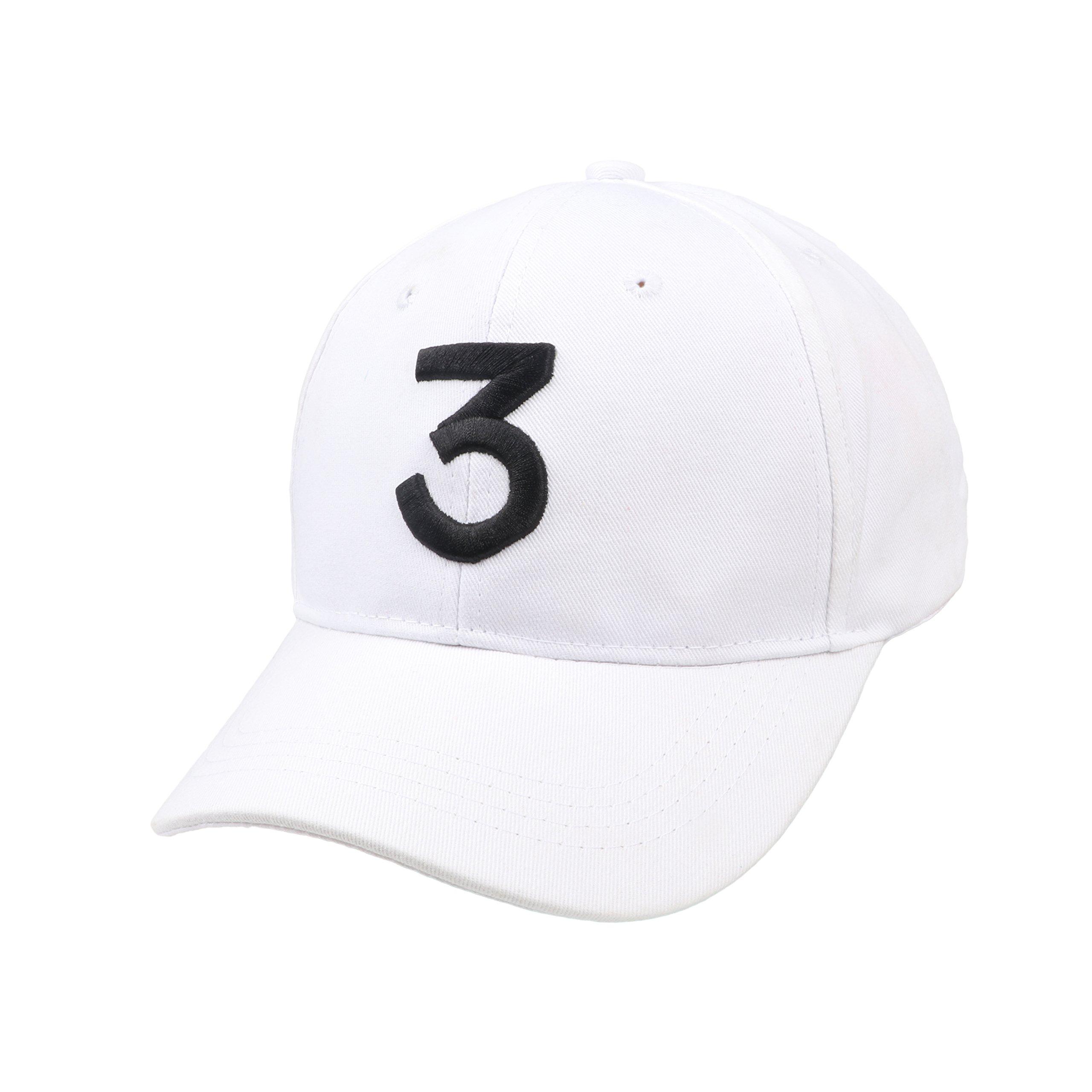 Embroider Hats Number 3 Cool Baseball Caps, Hip Hop Casquette, Adjustable sunbonnet Cotton Polo Style Low Profile Plain Caps, FREE, White