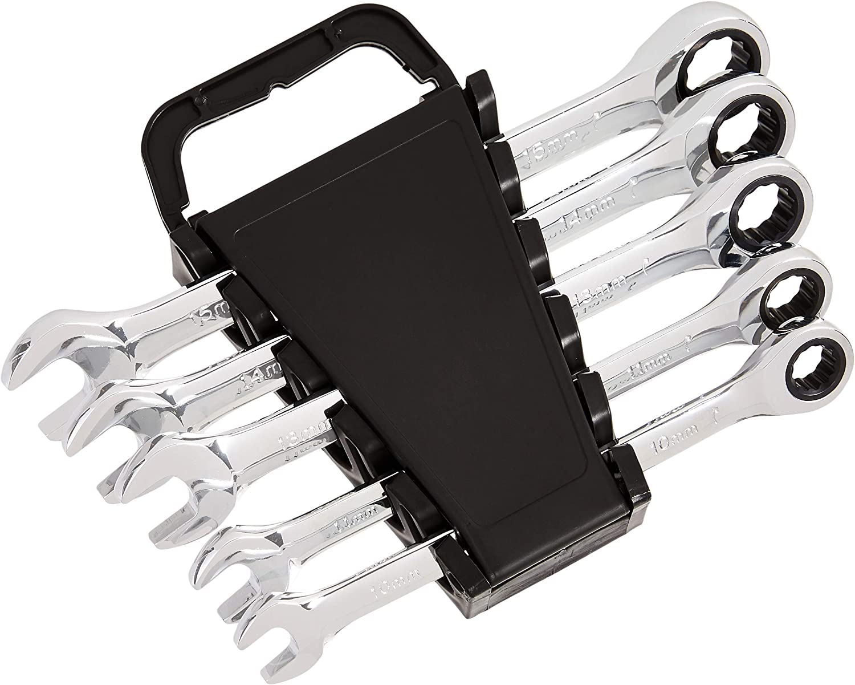 AmazonBasics Ratcheting Wrench Set - Metric, 5-Piece