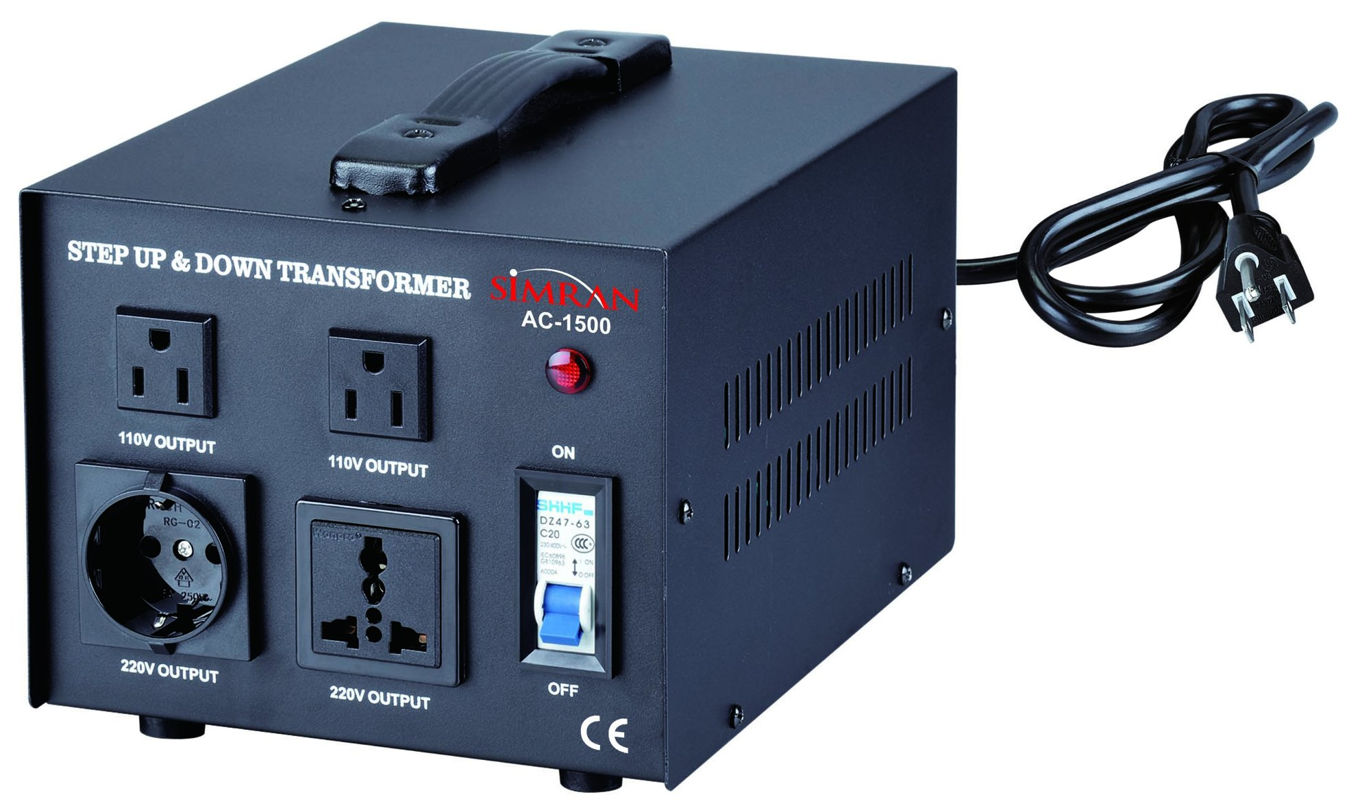 Simran Voltage Transformer, 1500 Watt, Step Up and Down, 110 Volt, 220 Volt Power Converter, Black (ACN-1500)