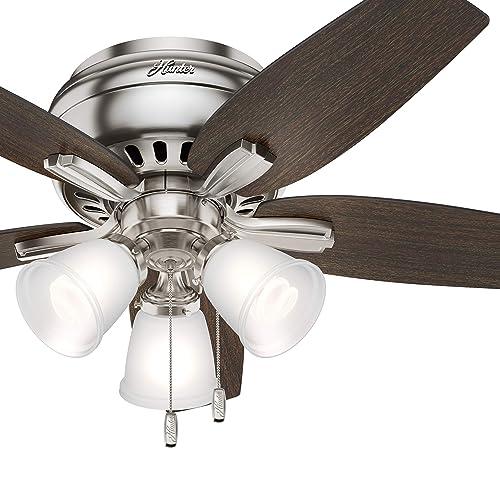 Hunter Fan 42 inch Premier Bronze Finish Flush Mount Ceiling Fan with 3 Light Fitter Renewed Brushed Nickel