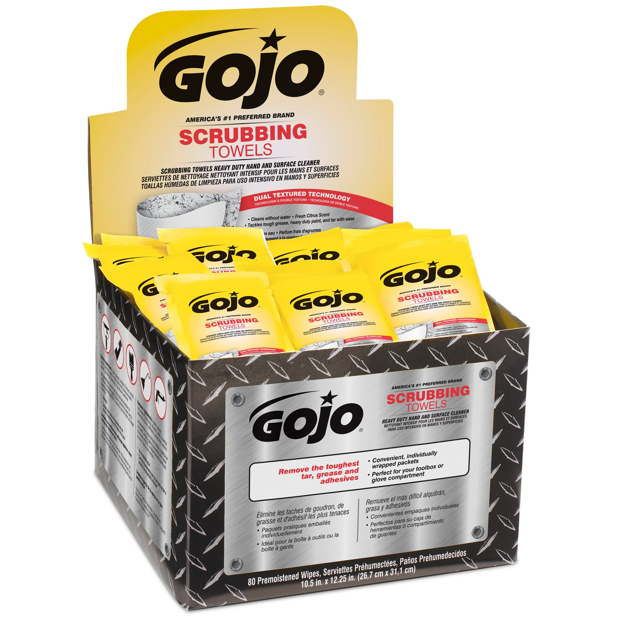 GOJO 8745-04 Scrubbing Towels, 80 Count Individually Wrapped, Heavy Duty Hand Cleaning for Hands and Surfaces, 23.16 fl. oz., X-Large