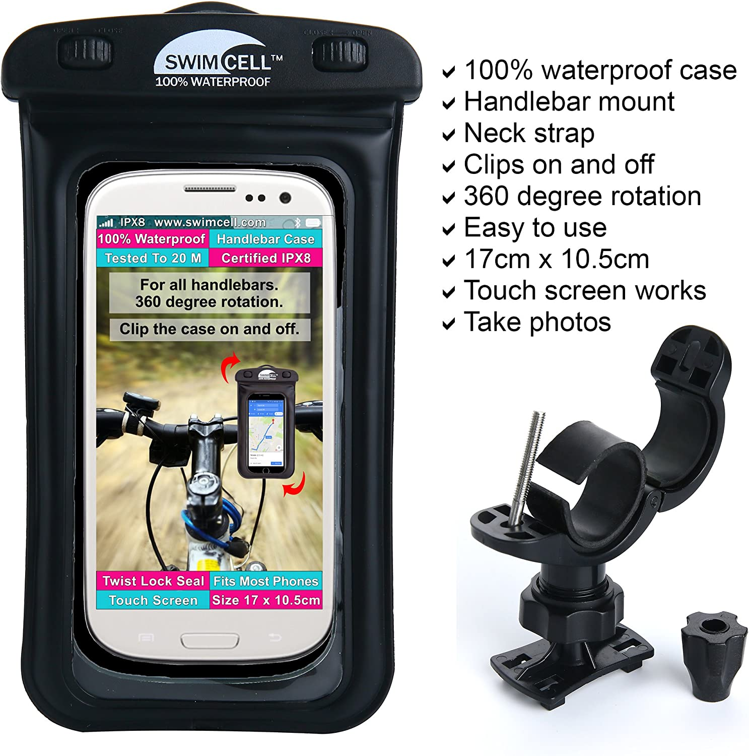 New 360° Bicycle Bike Waterproof Case Mount Holder Cover For Apple IPhone Models