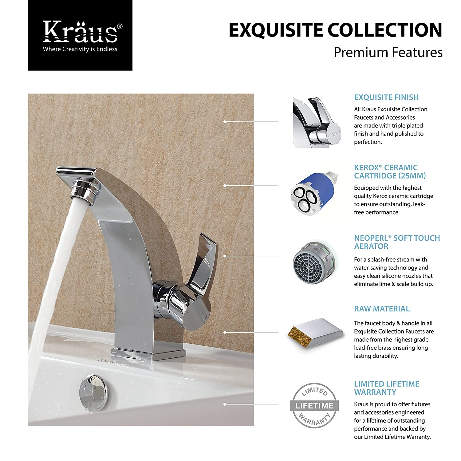 Kraus KEF-14701BN Illusio Single Lever Basin Bathroom Faucet Brushed ...