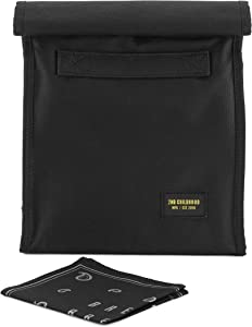Reusable Lunch Sack Bag with Extra Storage Pockets and Washable Napkin for School and Work - Large Capacity Foldable Insulated Lunch Bag Tote for Men and Women (Black)