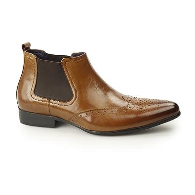 Frank James Harrow Mens Pointed Toe Leather Brogue Chelsea Boots Black Tan