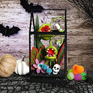 Twinkle Star Halloween Decorations Ghoulish Garden Artificial Flowers House, Halloween Succulent Biting Blossoms Piranha Plant Man Eating Plant, Skeleton Skull Halloween Prop Tabletop Decor