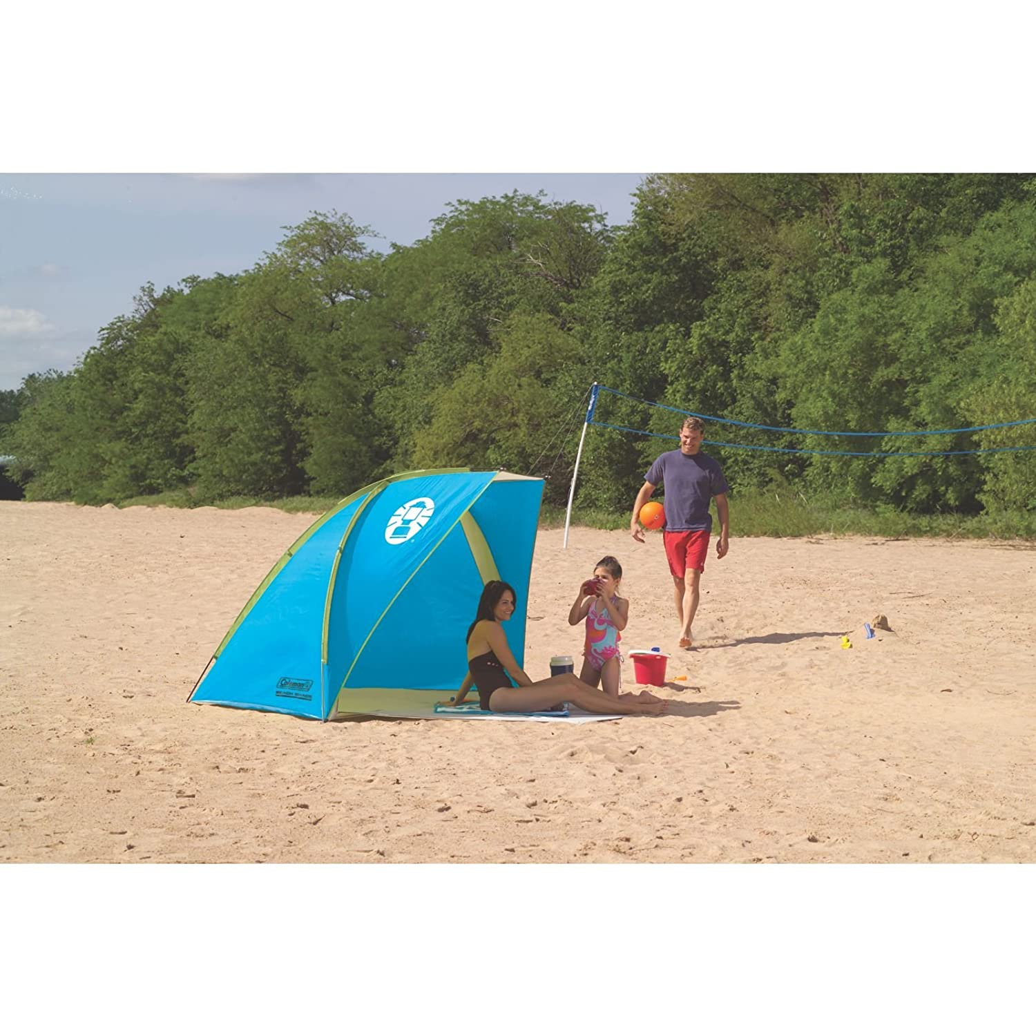 Amazon.com  Coleman Compact Shade Shelter Blue/Lime  Sports u0026 Outdoors  sc 1 st  Amazon.com : beach tent umbrella - memphite.com