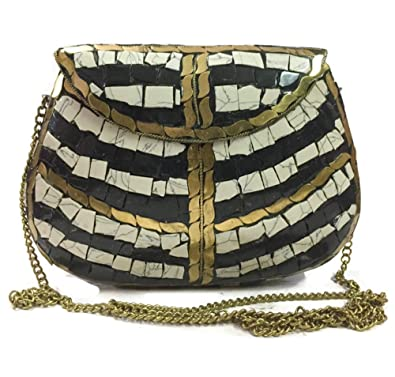 Amazon.com: Bolsas de fiesta negras y blancas, embrague ...