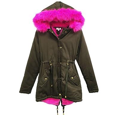 6a89c1660d9f5 Ladies Parka Jackets Faux Fur Trim Hood Women Parka Coat Khaki (Pink Fur  Hood