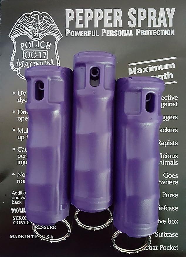 Amazon.com: 3 Policía Magnum Spray de pimienta 1/2oz púrpura ...