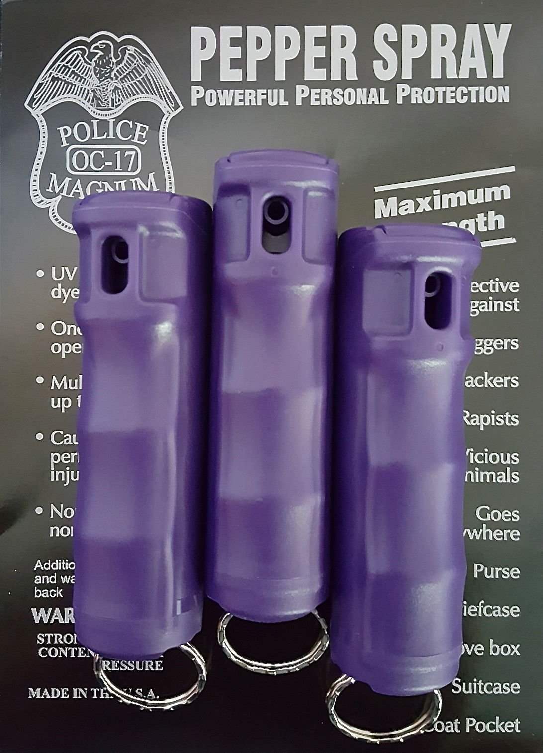 Police MAGNUM 3 pack PEPPER SPRAY 1/2oz PURPLE Flip Top Molded Keychain Security Self Defense Strength