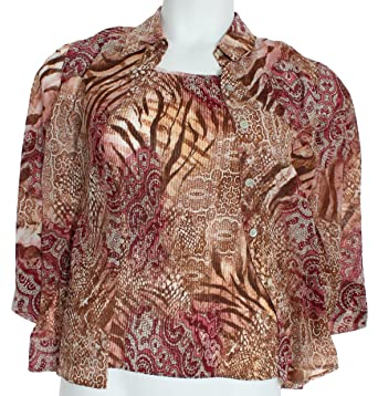 f00a3916ccdc0 Alfred Dunner Villa D Este Skin Two for One Button Down Shirt Multi 16 at  Amazon Women s Clothing store