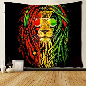 SARA NELL Cool Lion King Wall Tapestry Hippie Art Reggae Rasta Lion Tapestry Wall Hanging Home Decor Extra Large tablecloths 60x90 inches for Bedroom Living Room Dorm Room,Red Yellow Green