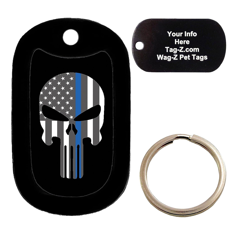THIN BLUE LINE FLAG EVIL SKULL Dog Tag Custom Engraved Pet Tag Tag-Z Wag-Z