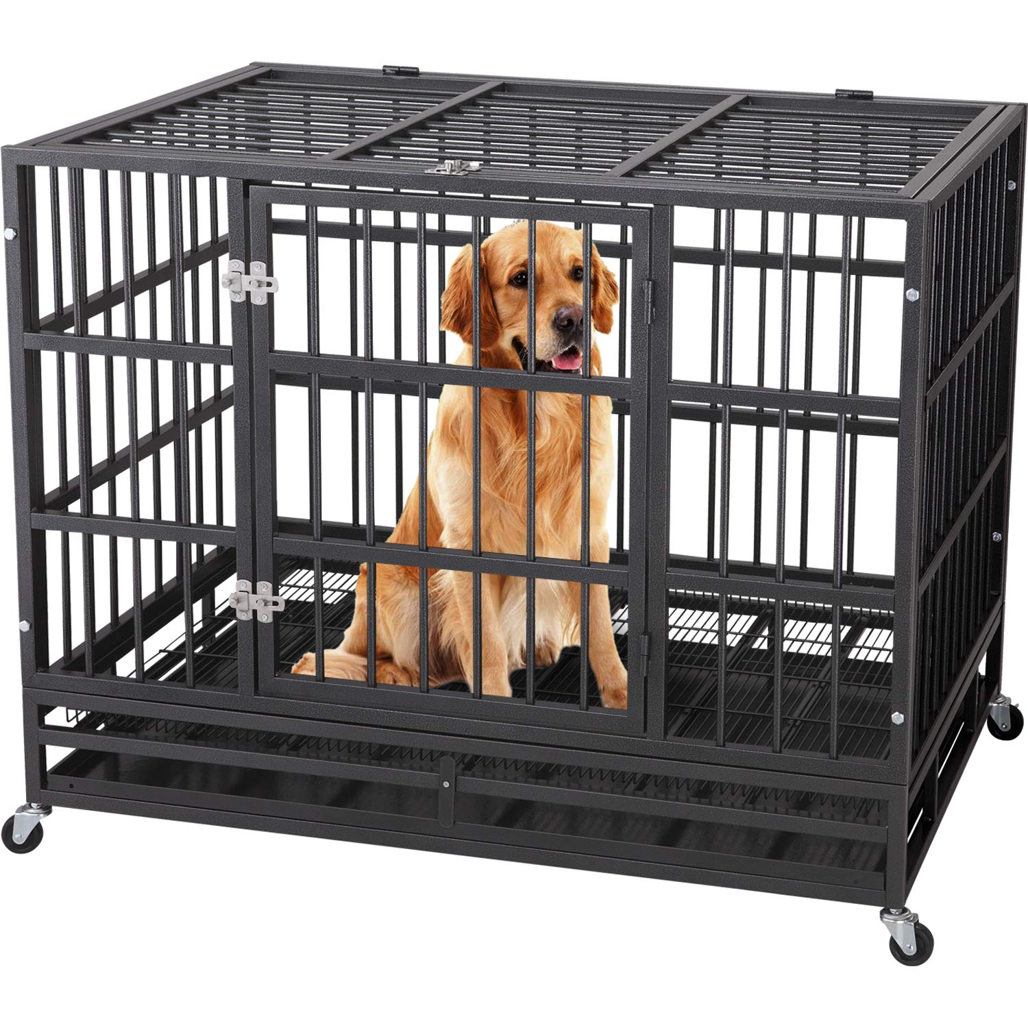 ITORI 48'' Heavy Duty Metal Dog Cage Strong Kennel Crate and Playpen for Training Large Dog and Pet Indoor and Outdoor with Double Doors & Locks Design Included Lockable Wheels and Removable Tray