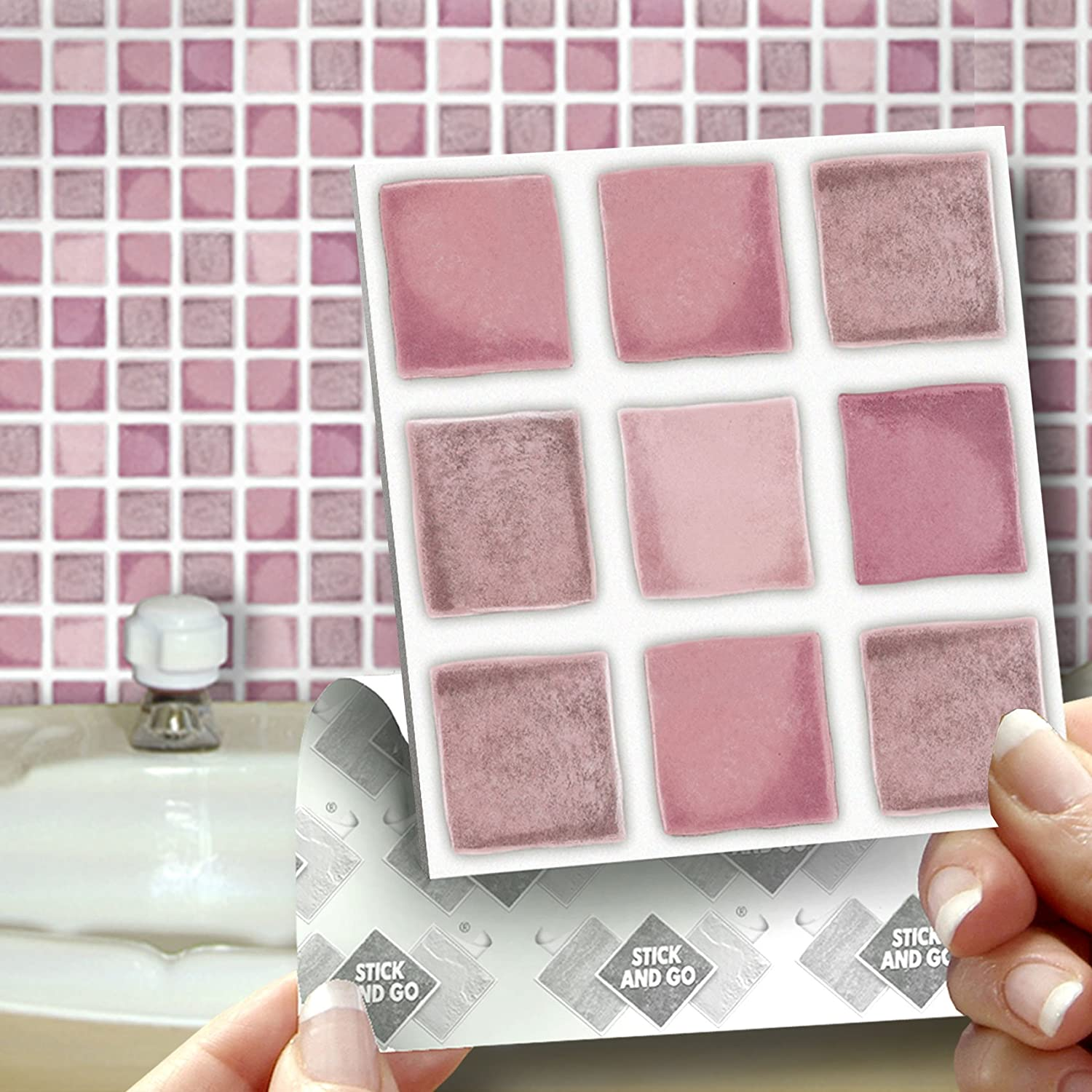 Stick on wall tiles bathroom - 18 Dusky Pink Effect Wall Tiles 2mm Thick And Solid Self Adhesive Stick On Wall Tile Stickers Transfers 18 Tiles Per Box 4 X 4 10cm X 10cm No