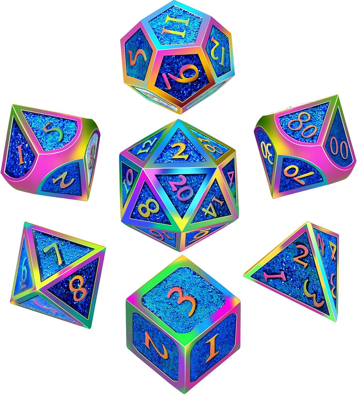 Juego de dados de metal Hestya de 7 piezas DND Juego de dados de metal sólido D & D con bolsa de almacenamiento y aleación de zinc con esmalte para juego de rol, matemáticas, Colorido, rosa y azul