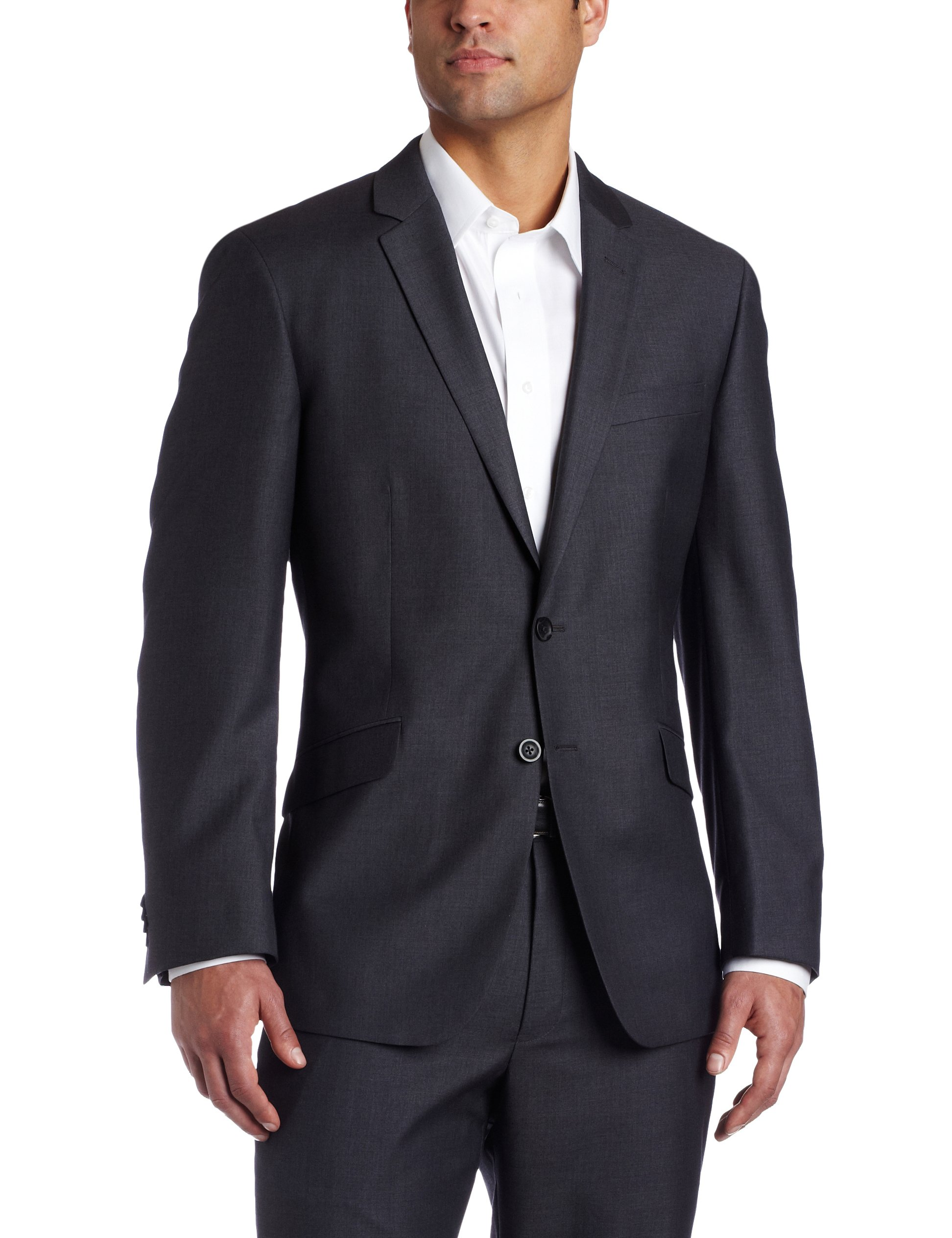 Kenneth Cole REACTION Men's Grey Solid Suit Separate Jacket, Gray, 44 S