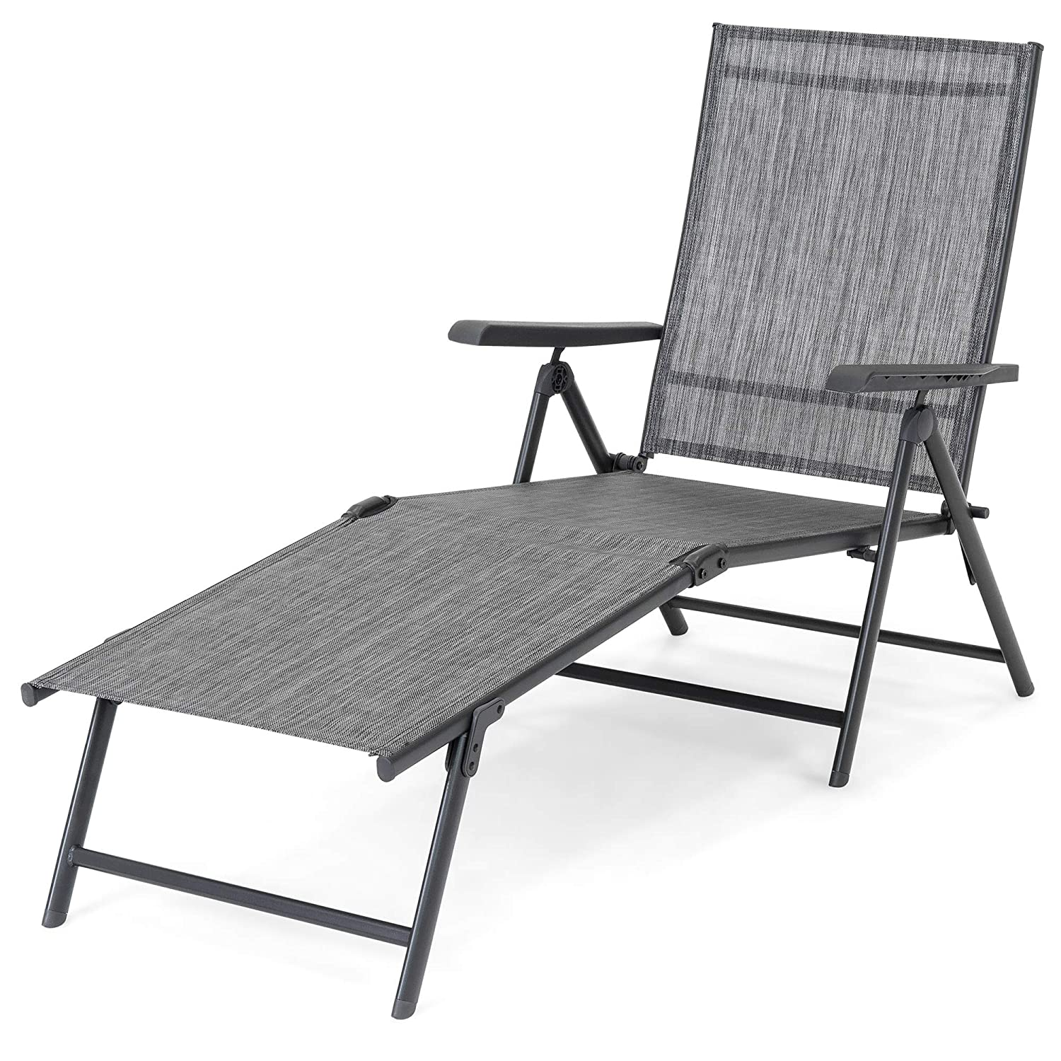 UV-Resistant Textilene Best Choice Products Set of 2 Outdoor Adjustable Folding Chaise Reclining Lounge Chairs for Patio Poolside 4 Back /& 2 Leg Positions Deck w//Rust-Resistant Steel Frame