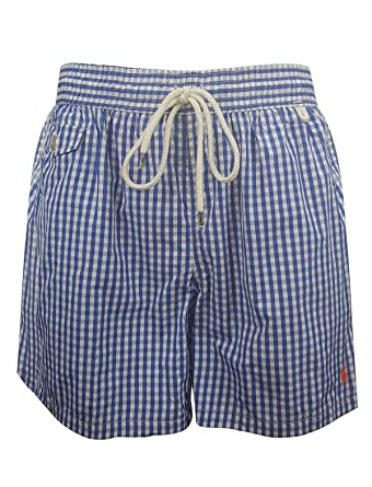 Ralph Lauren Traveler Gingham Swim Shorts (M, Blue Gingham)