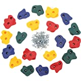 """JGS 20 Premium Quality Large Rock Climbing Holds for Kids with Longer 2"""" Mounting Hardware for Wood Playset Swing Set, Indoor Outdoor Climbing Wall, Children Playground (eBook Install Guide Included)"""